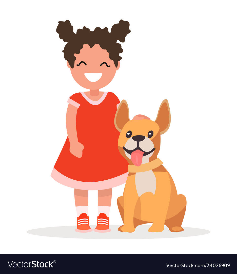 A cute little girl and dog on white background