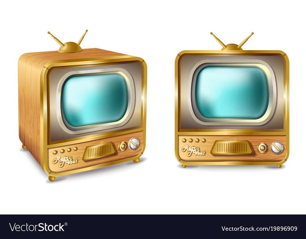 Cartoon retro vintage tv set with antenna