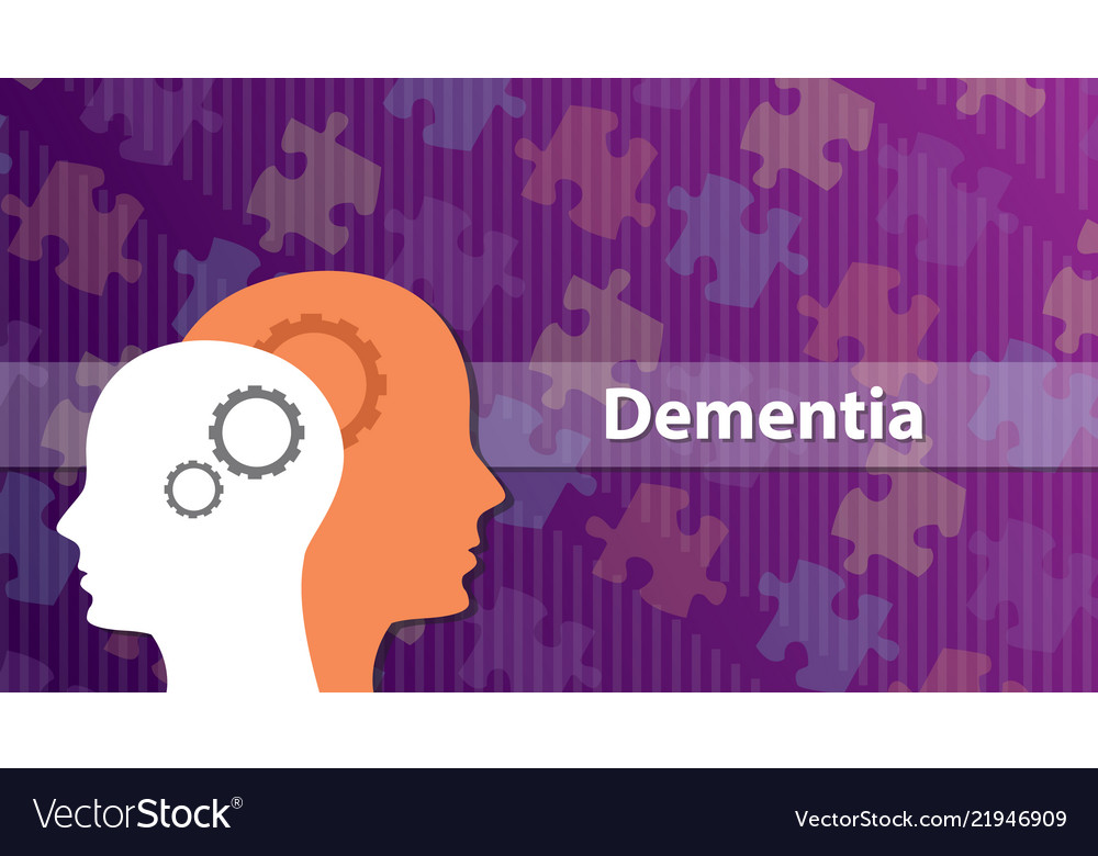 Dementia old people ill sick with head and puzzle
