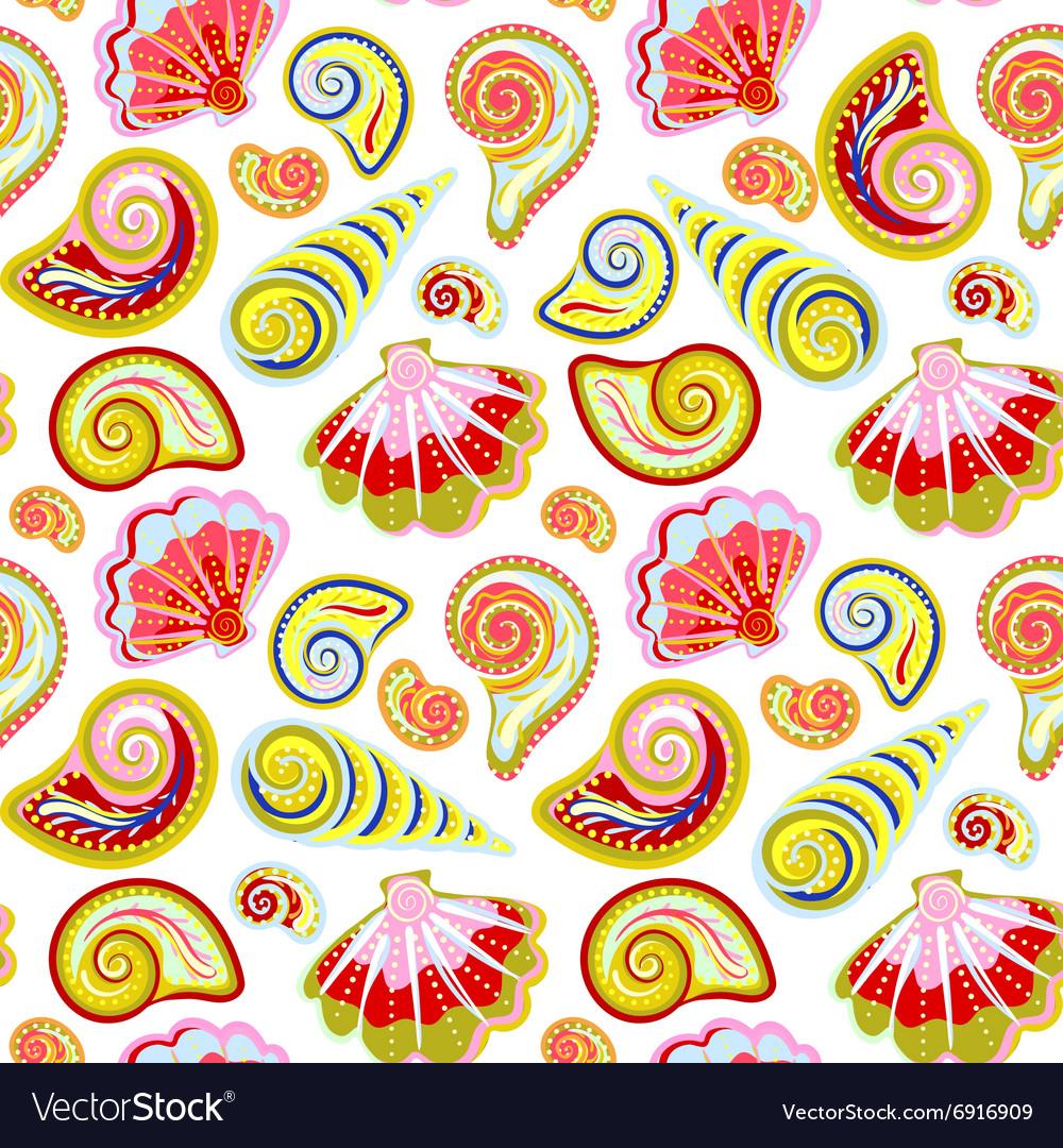 Hand draw sea shells pattern Seamless texture