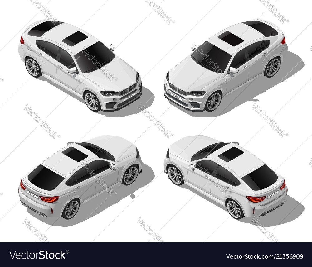 Isometric white off-road car set different sides