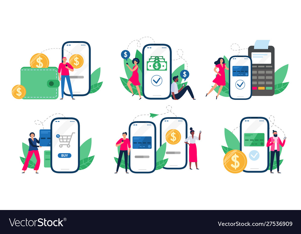 Mobile payments people with smartphones send