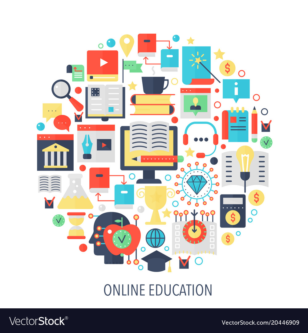 Modern online education flat infographics icons in
