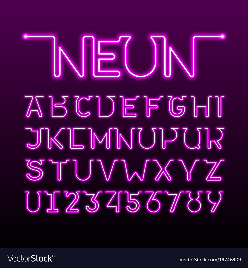 One thin single continuous line neon tube font