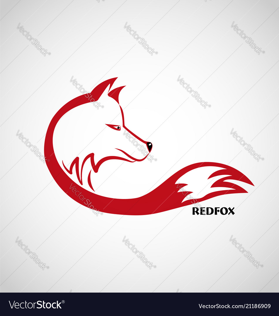 Red fox logo isolated