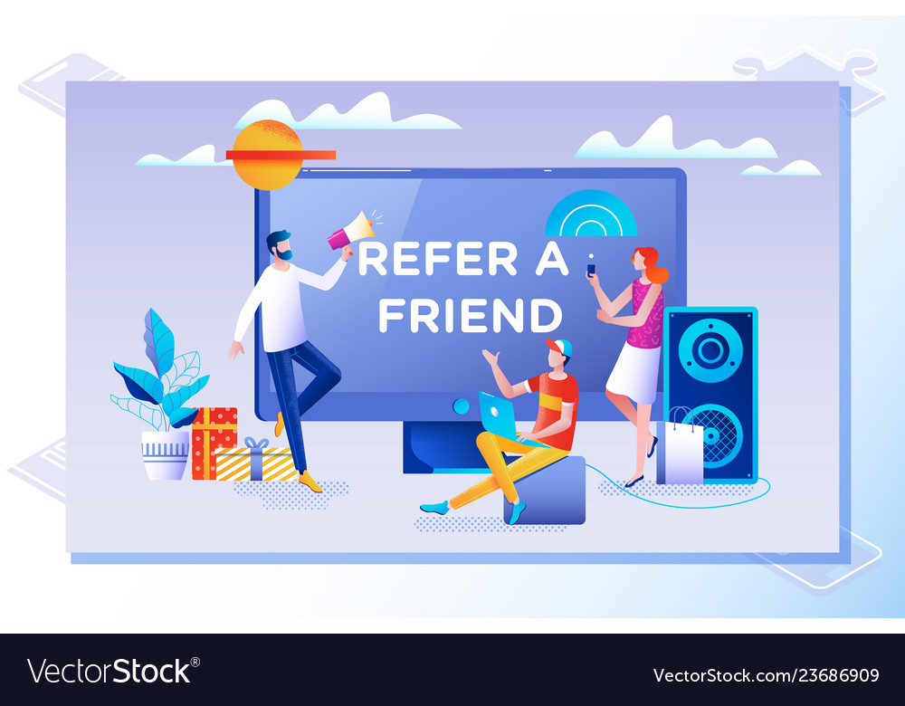 Refer a friend concept friend sharing referral