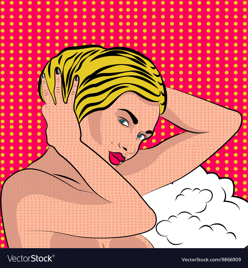 Sexy nude pop art girl vector image