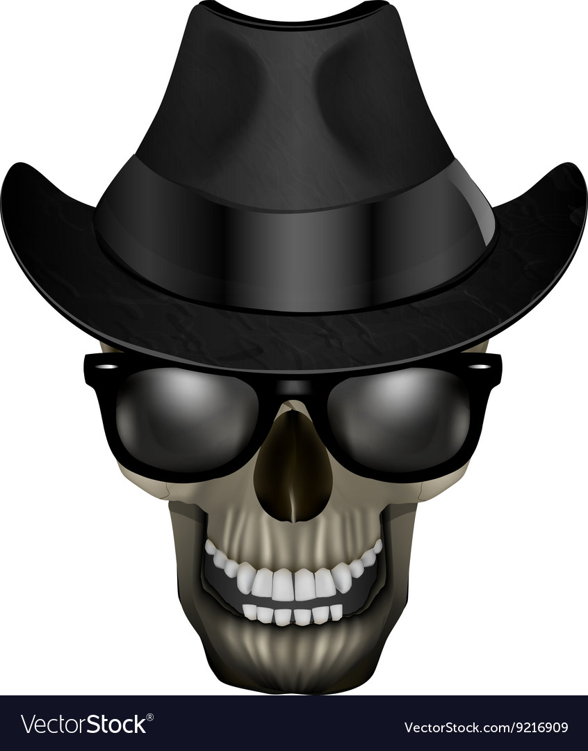 Skull blues with glasses and hat