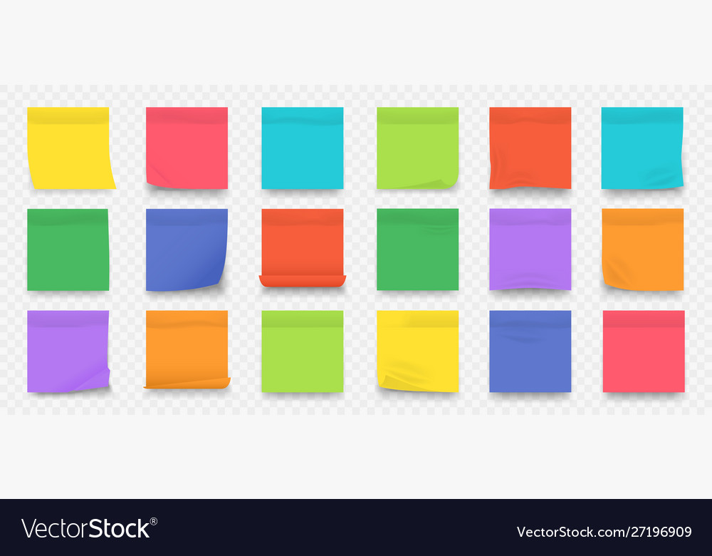 Sticky notes square colored blank notepad pages