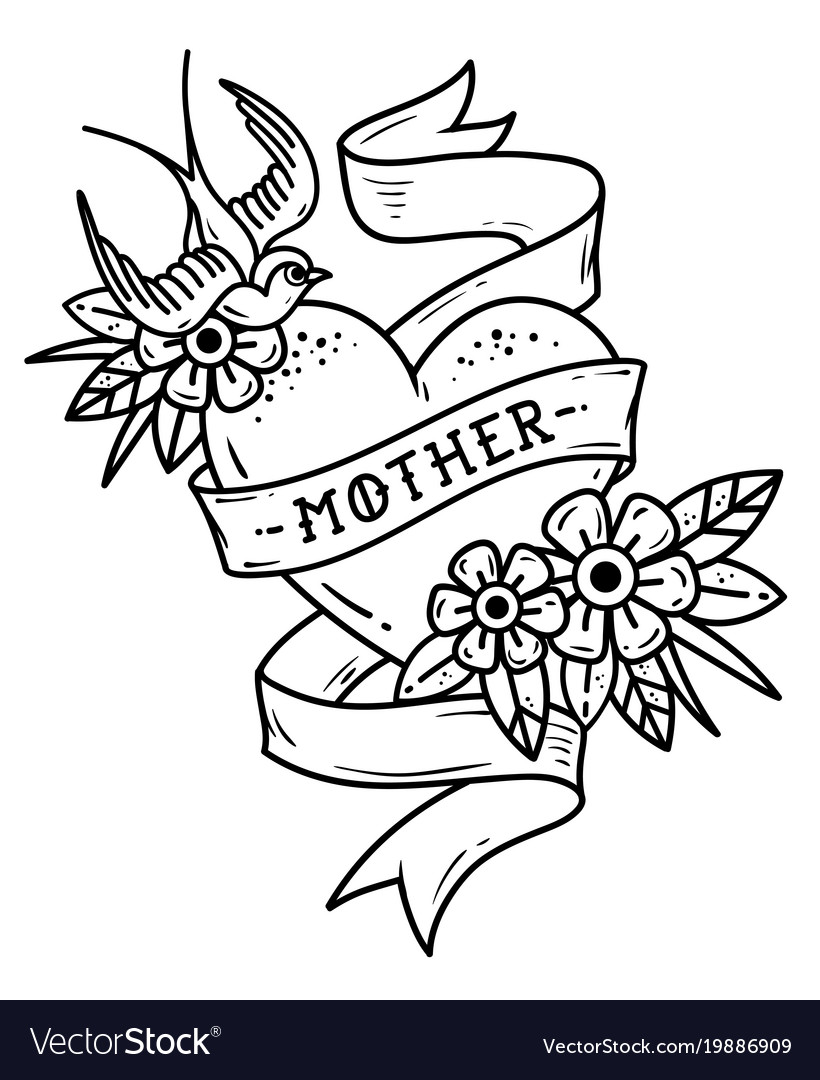 Tattoo Heart With Swallow Flowers And Word Mother