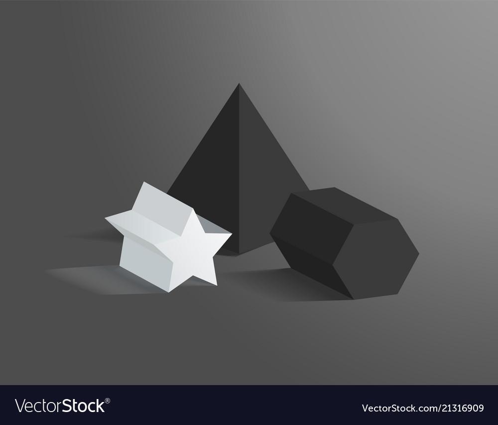 Three heometric prisms set