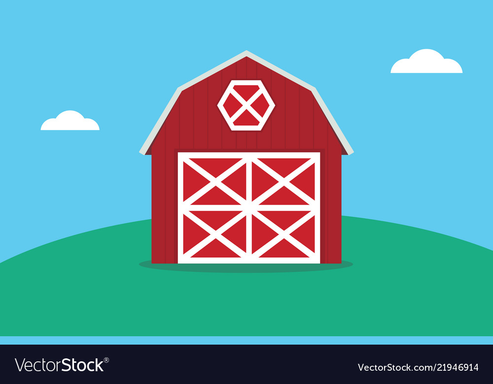 A flat red barn on the top of green land mountain