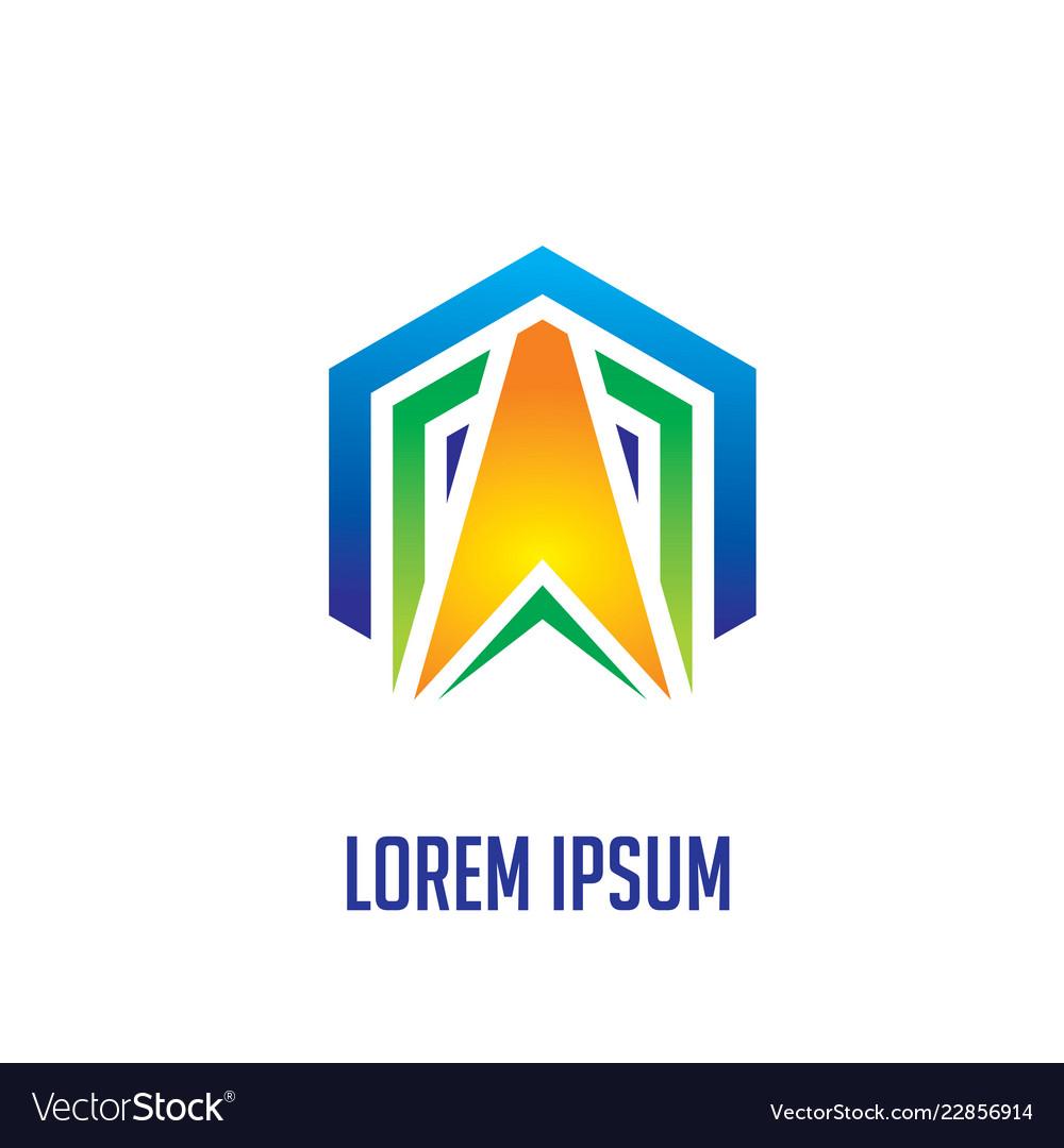 Abstract hexagon arrow business logo