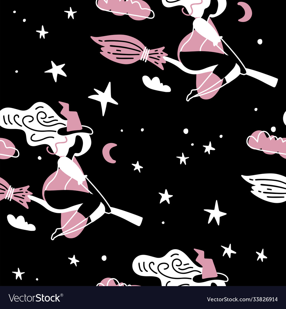 Cute young witch with broom fly on starry sky