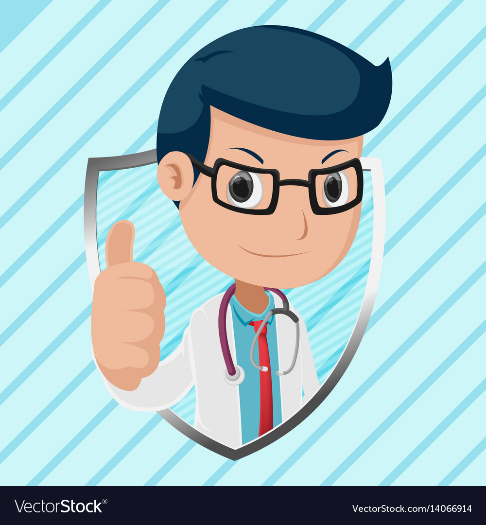 Doctor mascot shield symbol logo vector image