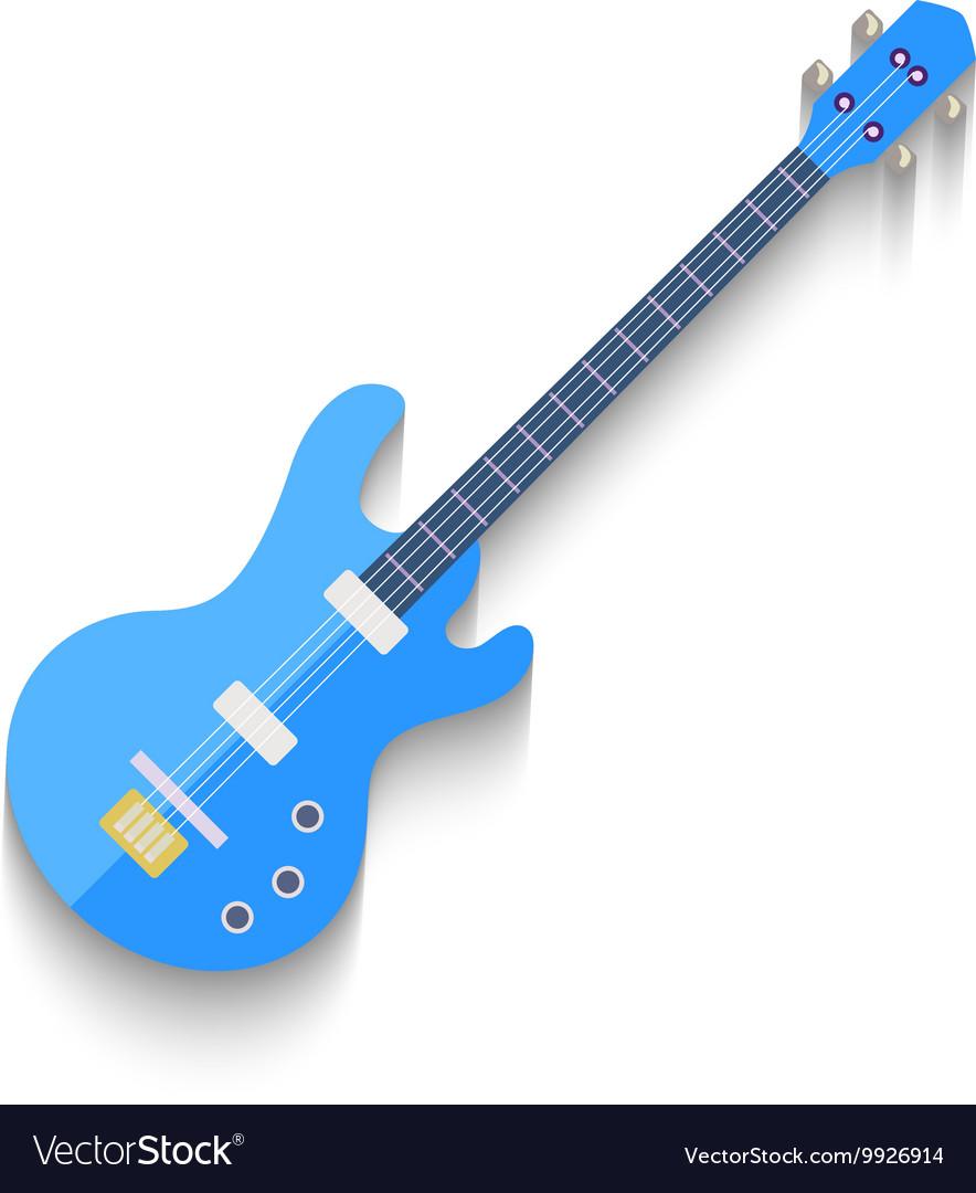 Electro Guitar Flat Design isolated on white