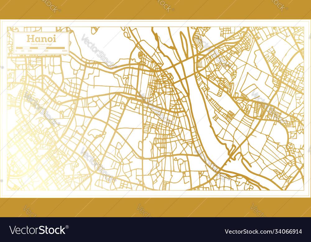 Hanoi vietnam city map in retro style in golden