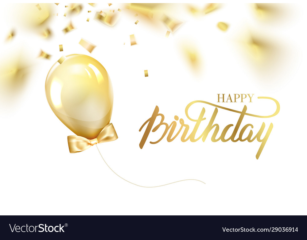Happy birthday card template with golden foil