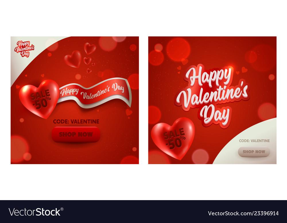 Happy valentine day sale promotion banner discount