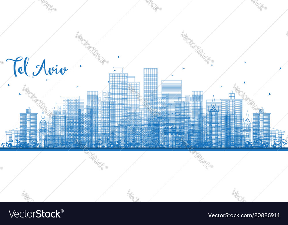 Outline tel aviv israel skyline with blue