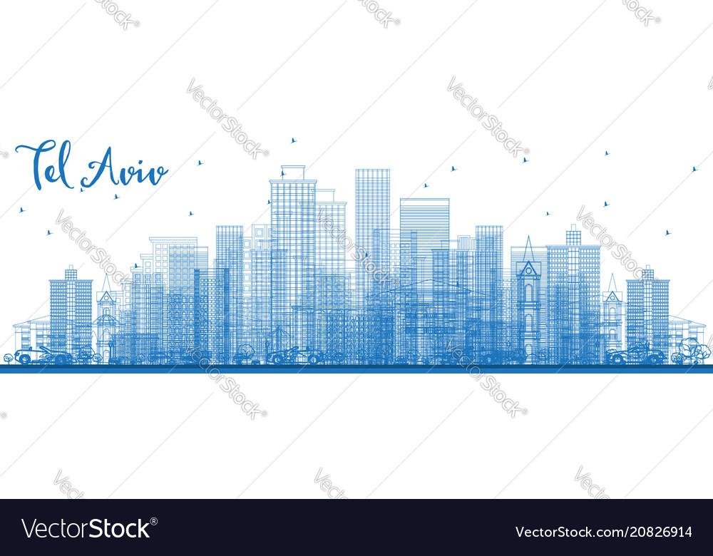 Outline tel aviv israel skyline with blue vector image