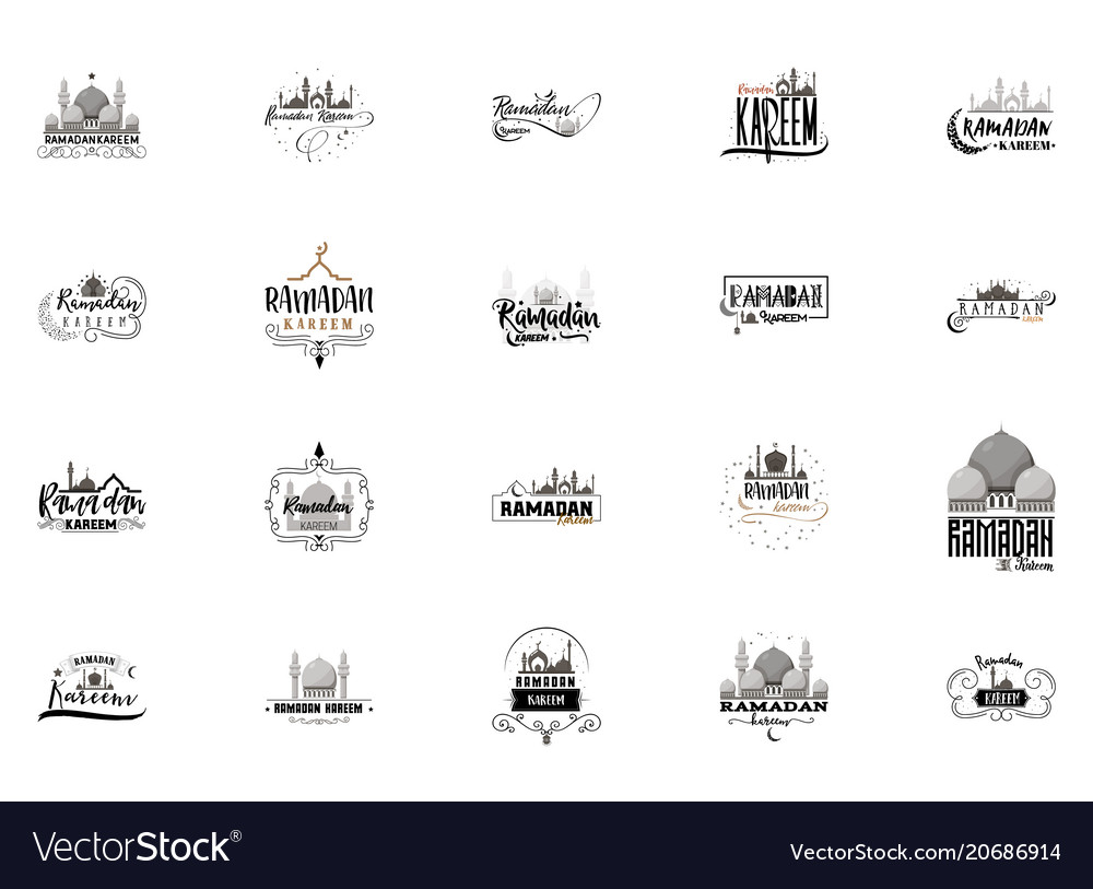 Ramadan kareem mubarak banner set for postcards