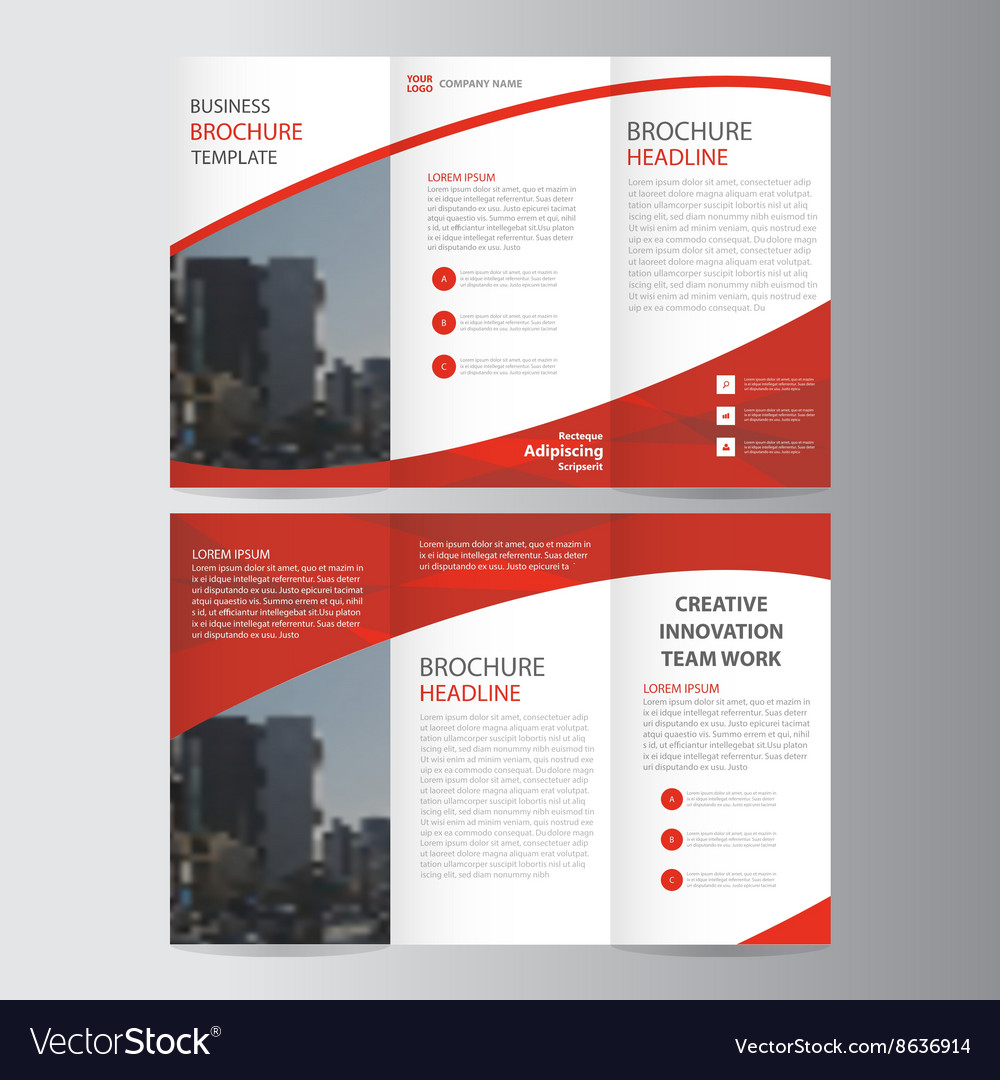 Red Trifold Leaflet Brochure Flyer Templates Set Vector Image - Flyer brochure templates