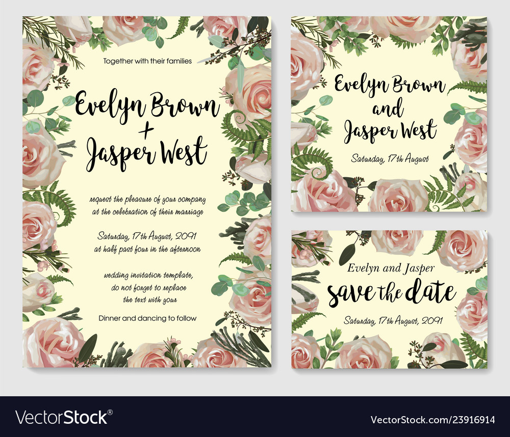 Set Of Wedding Invitation Greeting Card Save Vector Image