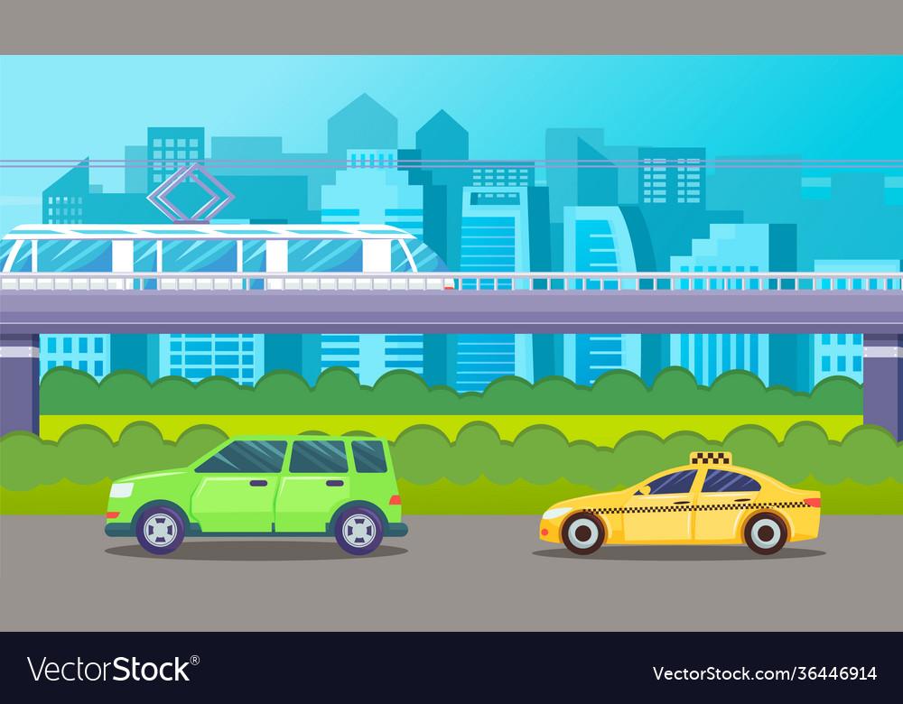 Traffic cars ground metro urban scape green