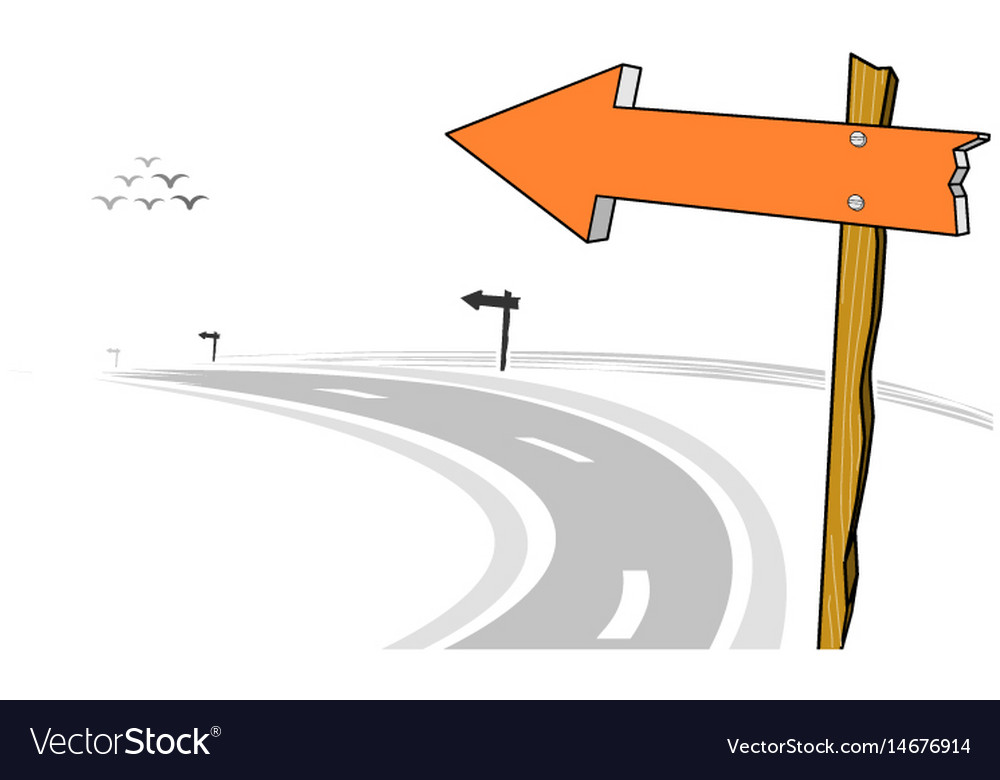 wooden arrow sign post left curve road royalty free vector