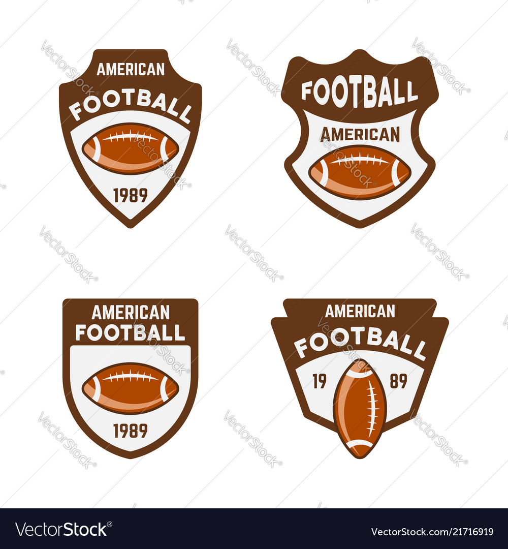 American football or rugby colored badges
