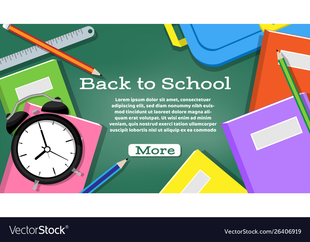 Back to school banner with school supplies