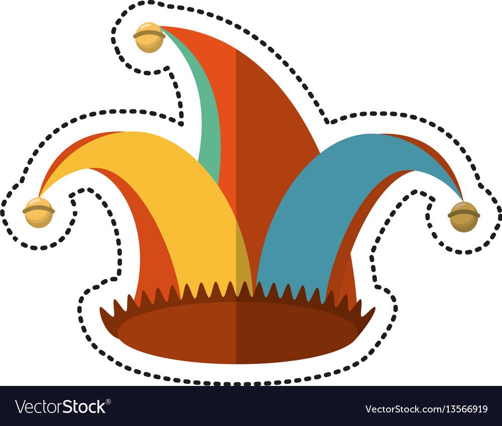 Cartoon jester hat celebration ornament vector image