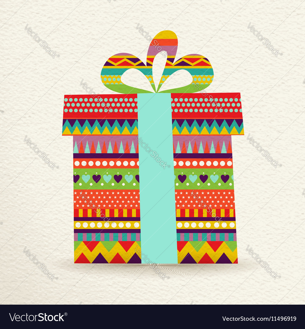 Christmas gift box in fun colors vector image