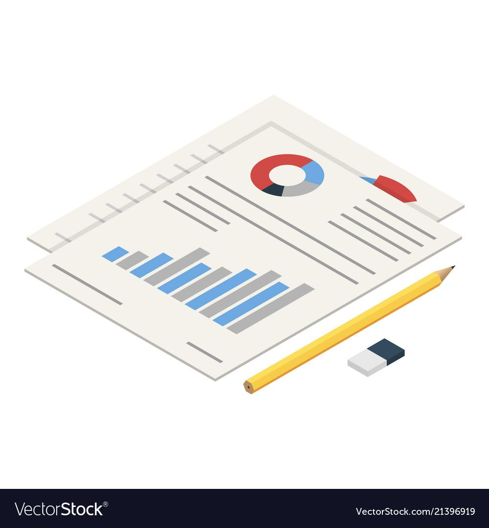 Diagram paper icon isometric style