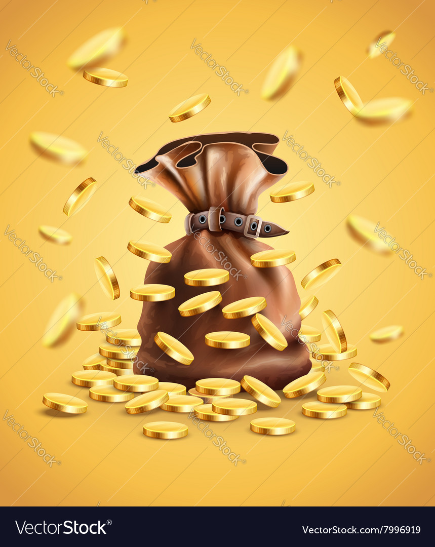 Gold coins falling down and full vector image