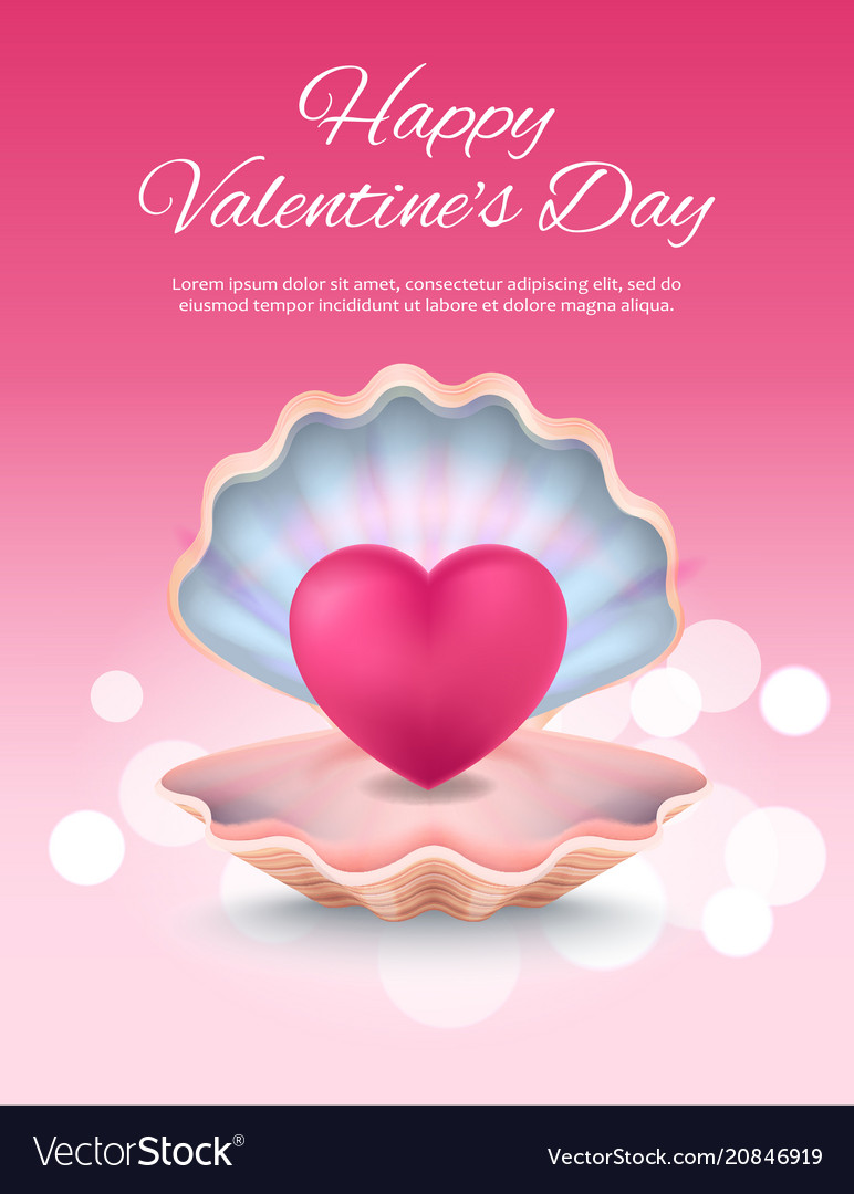 Happy valentines day poster on