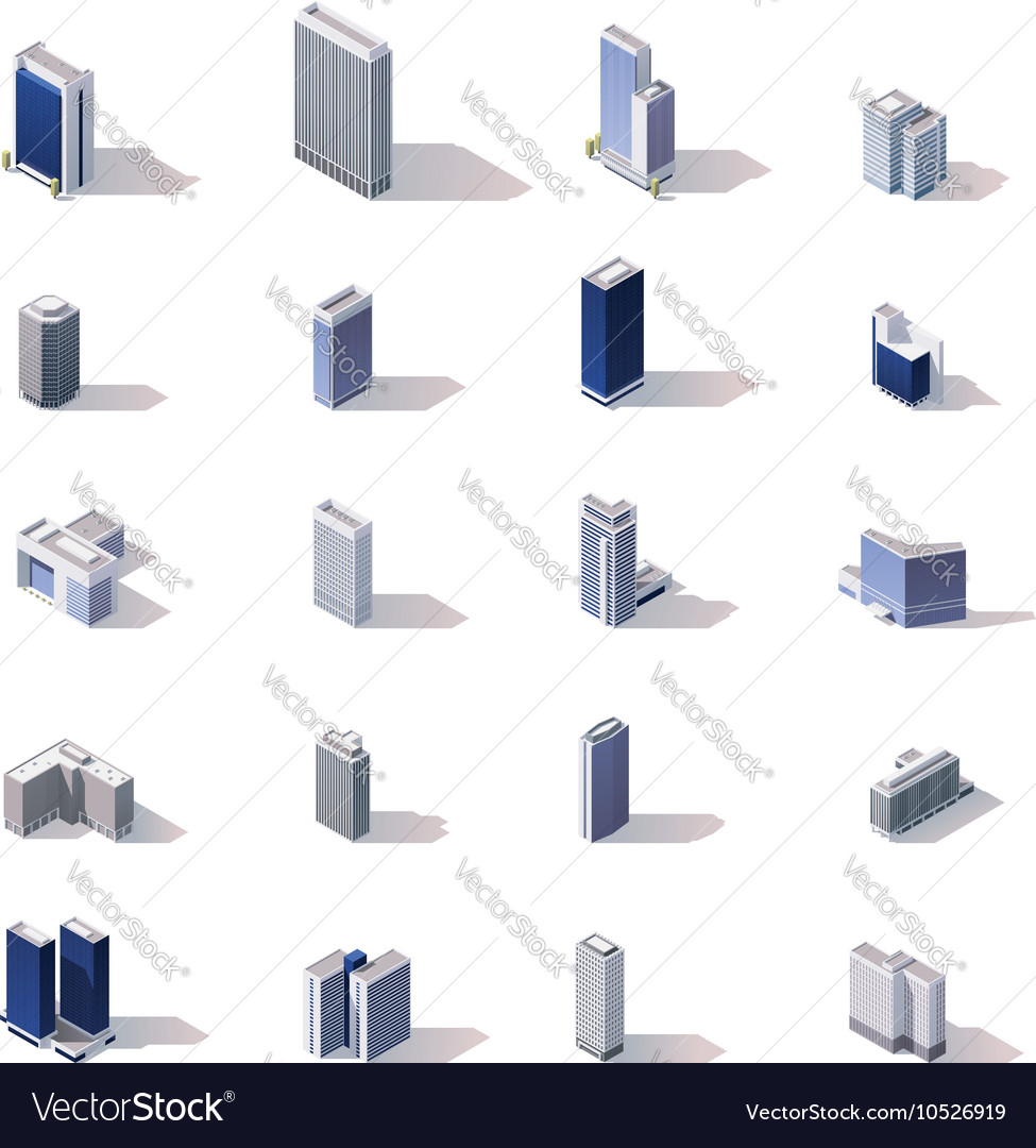 Isometric city buildings icon set