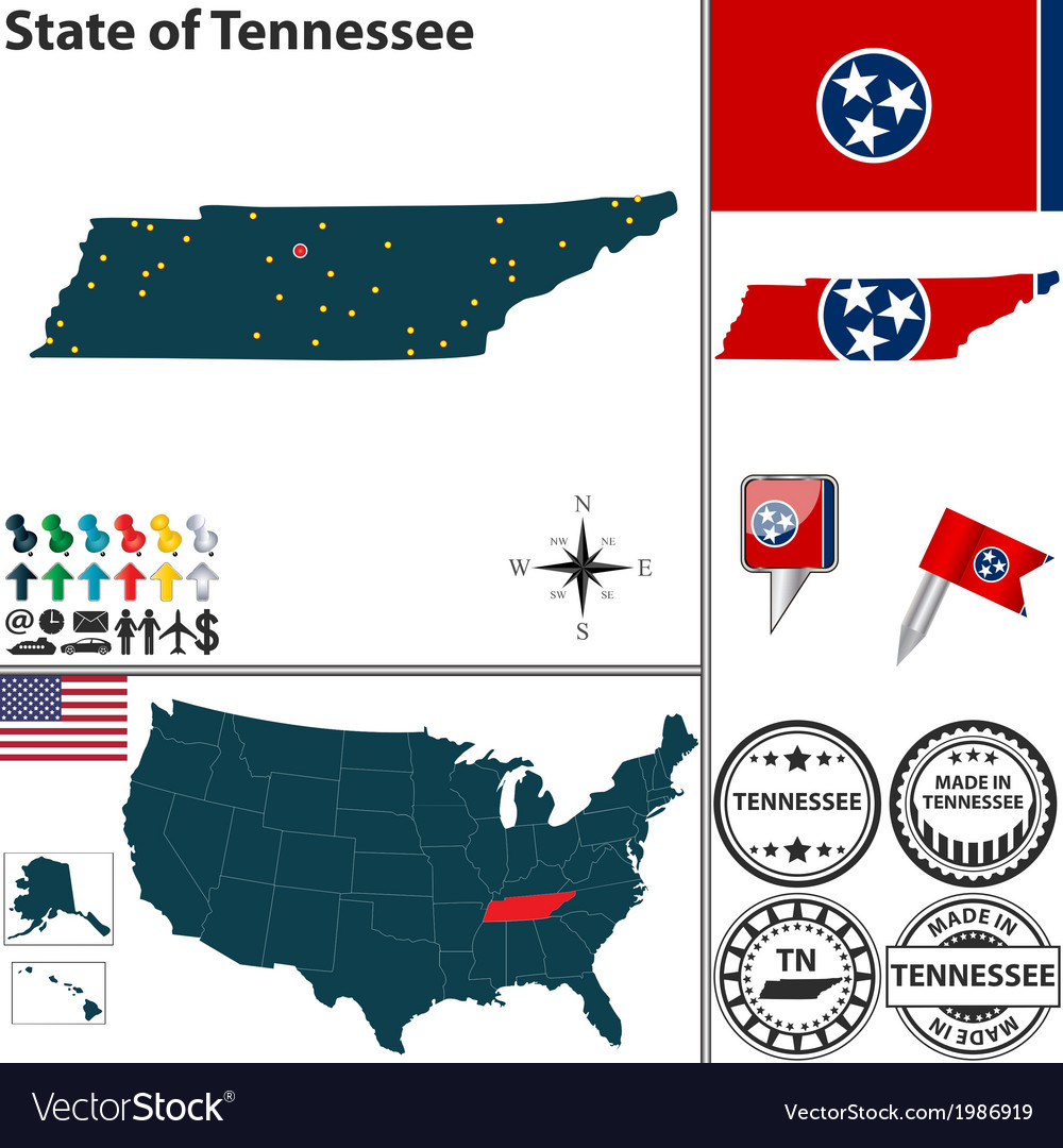 Map of Tennessee vector image