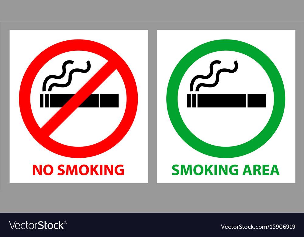 No smoking and smoking area sign