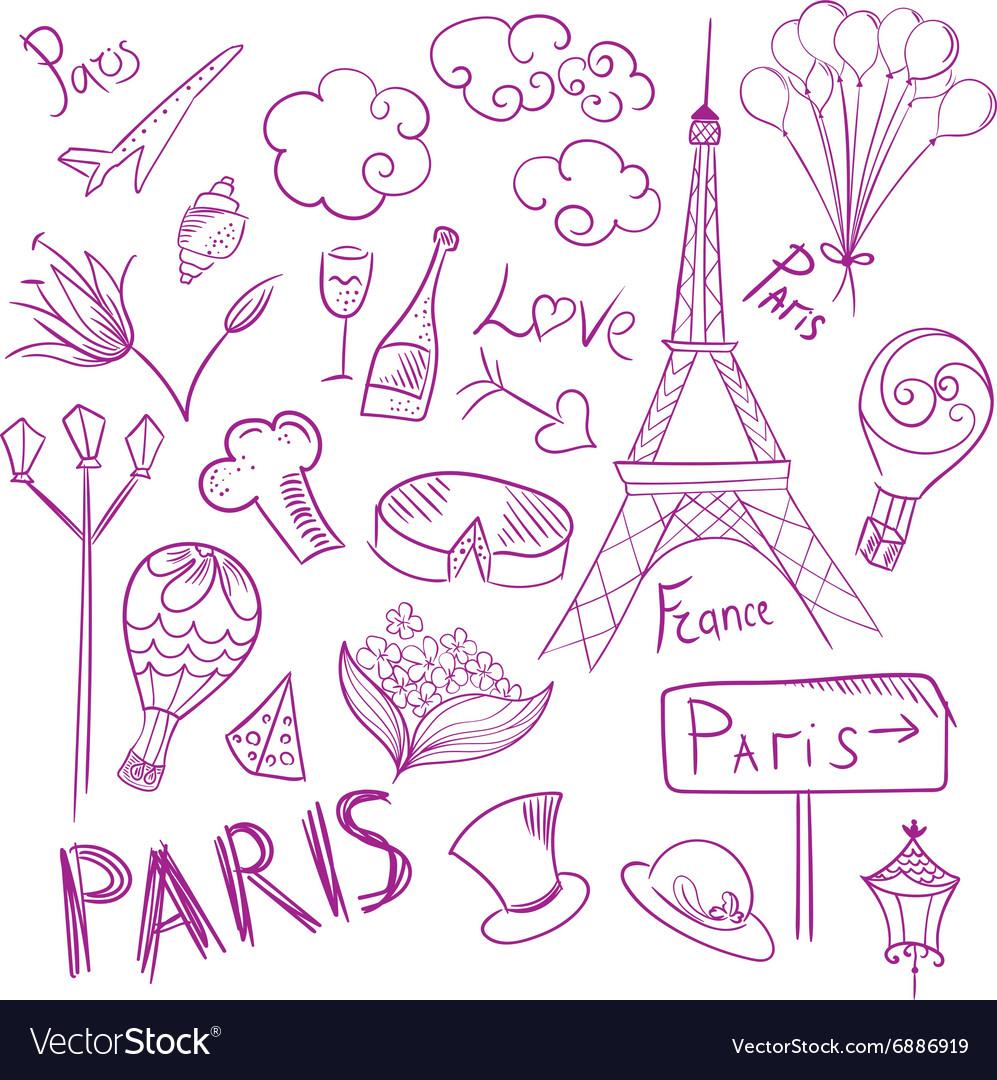 Paris Sketch Symbols Set
