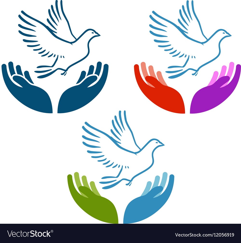 Pigeon of peace flying from open hands icon