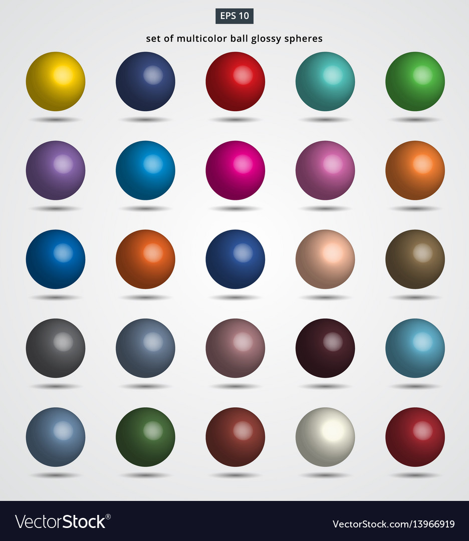 Set of multicolor ball glossy spheres