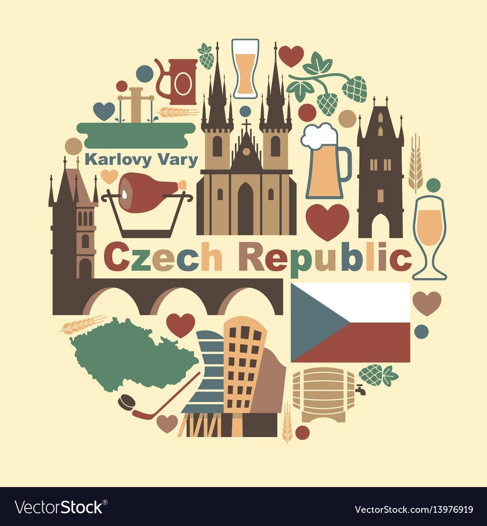 Symbols of the czech republic vector image