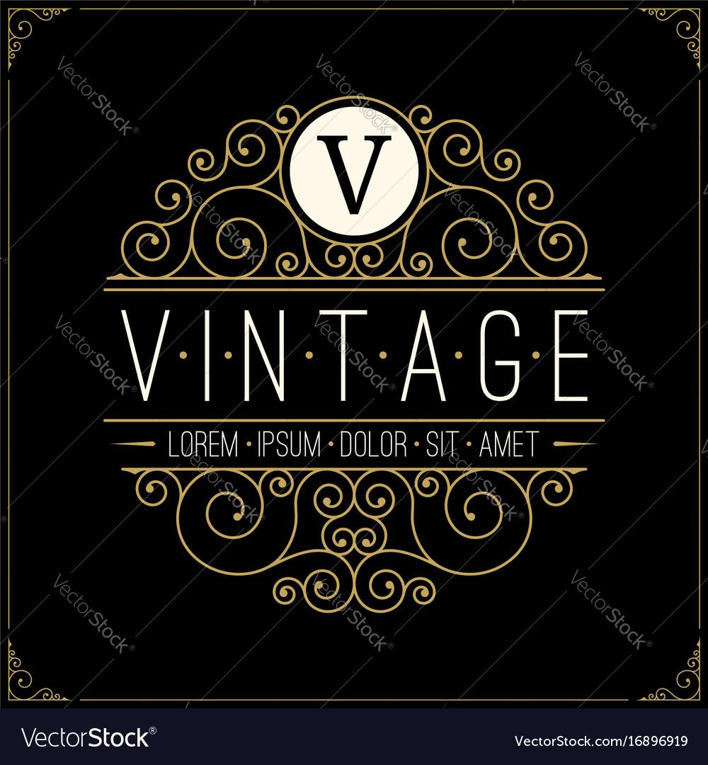 Vintage luxury logo line art retro logotype