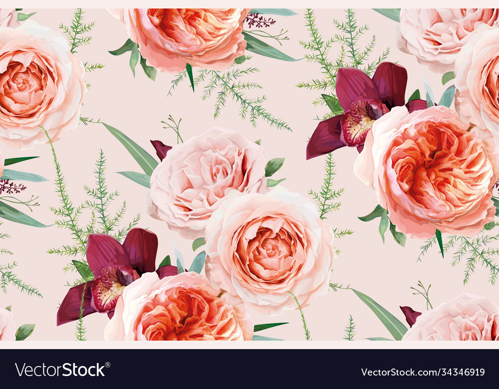 Watercolor seamless floral pattern textile peach