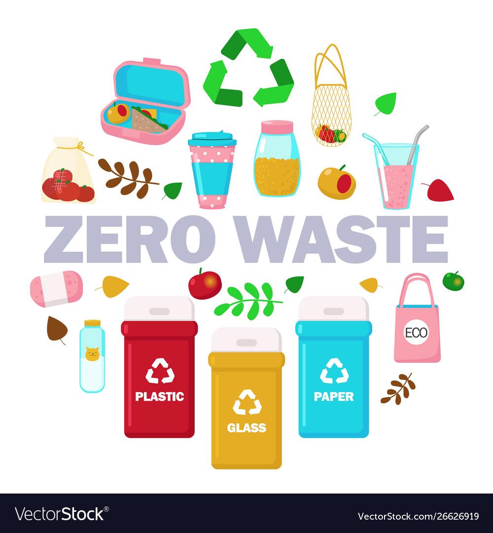 Zero waste set in circle flat isolated