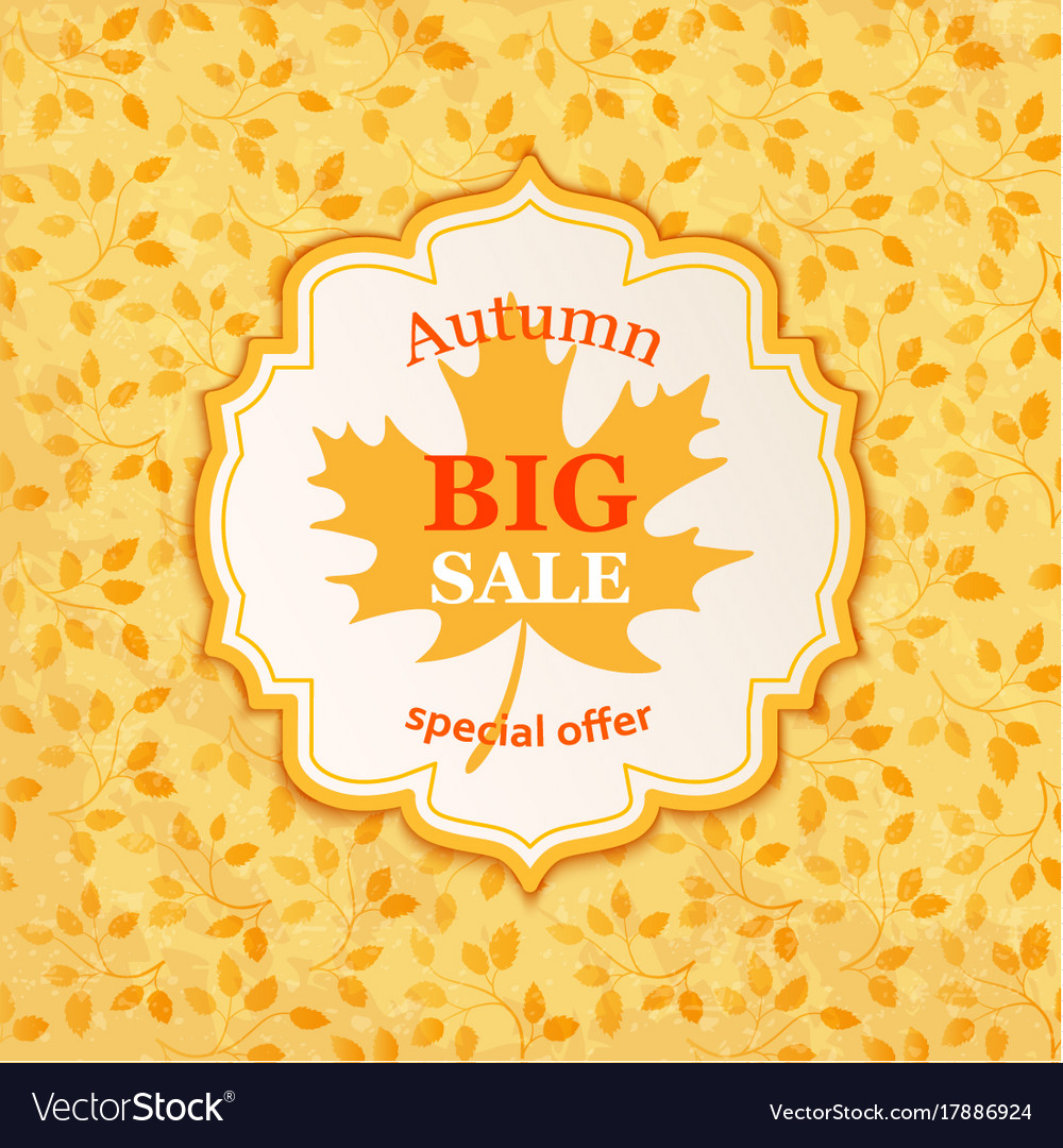 Autumn sale background banner template vector image
