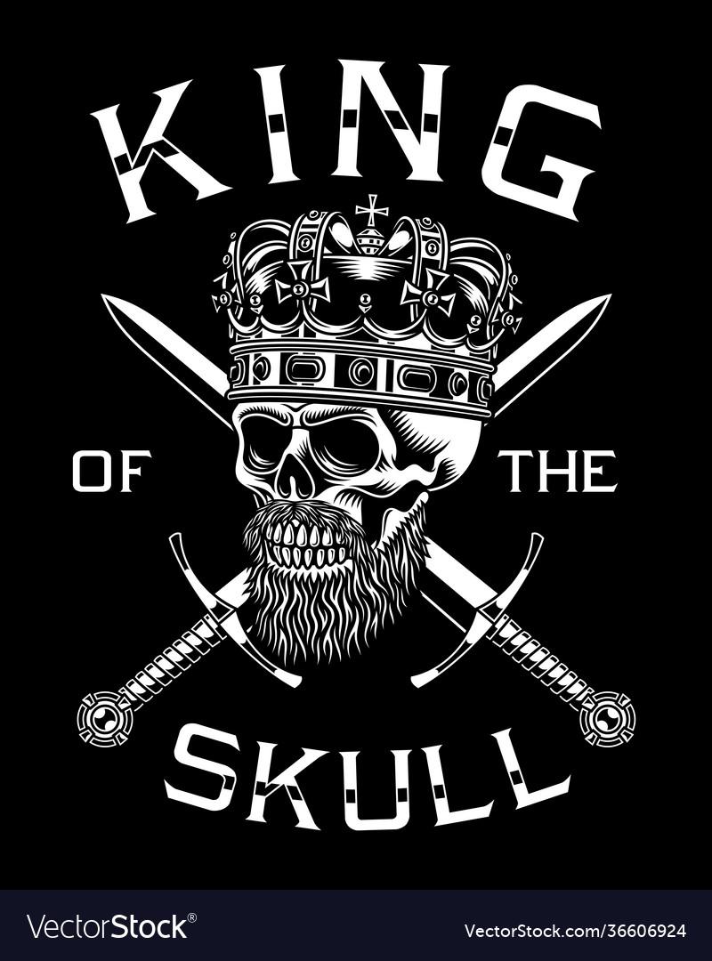 Bearded skull king with crossed swords