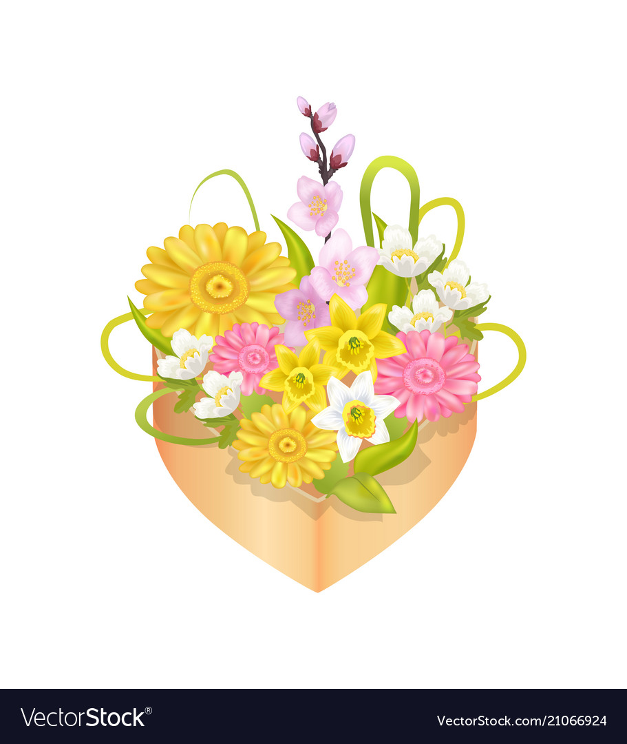 Bouquet of spring flowers in heart shape decor box
